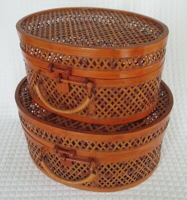 Pair of Vintage Decorative Chinese Woven Wood Baskets - 45 Yrs Old