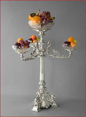 An Exceptional Victorian Silver and Glass Centrepiece or Comport Birmingham 1874
