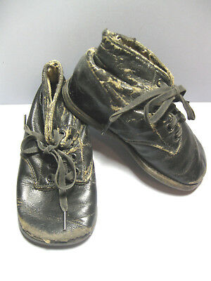 Vintage 1930's Children's Black Leather High Top Lace Up Shoes