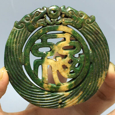 54g Old China Hand-carved jade Nobility wear amulets Pendant collect A27 69x66mm