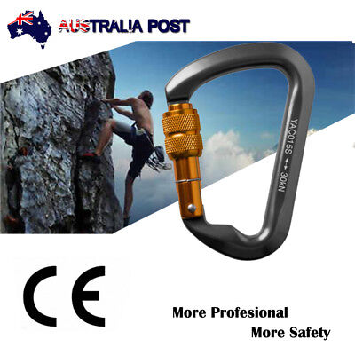 Outdoor 30KN Stainless Steel Screwgate Locking Carabiner D-Ring Hook Climbing
