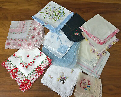 Lot Vintage Handkerchiefs Floral Embroidered Crocheted Silk Christmas