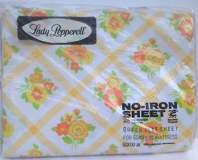 Vintage Queen Flat Sheet CHECKERBOARD FLOWER Lady Pepperell No Iron New NOS NIP