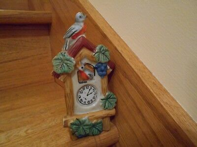 Lustreware Cuckoo Clock Wall Pocket & weights made in Japan *shipping included!*