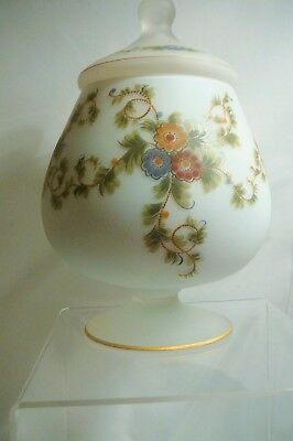 Vtg Italian Hand Painted Frosted Satin Glass apothecary bowl with lid  Pretty