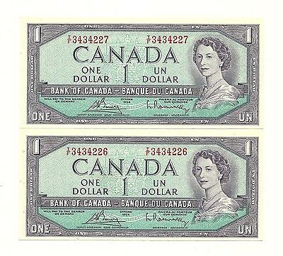2 x 1954 CANADA ONE DOLLAR BANK NOTES (UNC/CON)