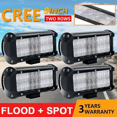 """4x 9"""" inch CREE 54W CREE LED Light Bar Flood Work Offroad Driving Lamp 5D SUV BE"""