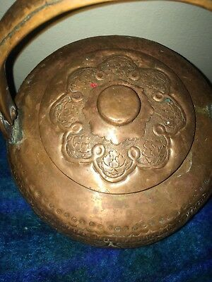 Antique Japanese Copper TEA KETTLE Teapot LOTUS Sculpture Beautiful Detailing