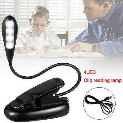Flexible Neck Light Clip on USB 4 LED Book Lamp Reading Rechargeable Adapter Hot