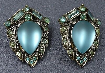 VINTAGE ARCANSAS Elizabeth Reimer - Teal/Green RHINESTONE Costume Snap Earrings
