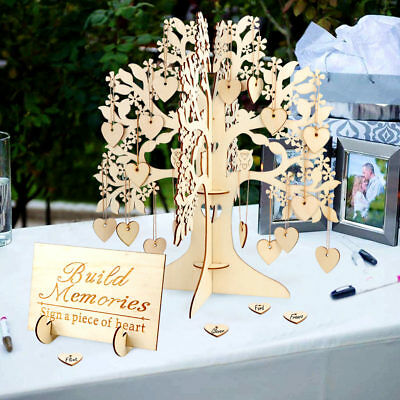 Wooden Wishing Tree & 100 Hearts Visit Sign Guest Book Wedding Guest Book Tree