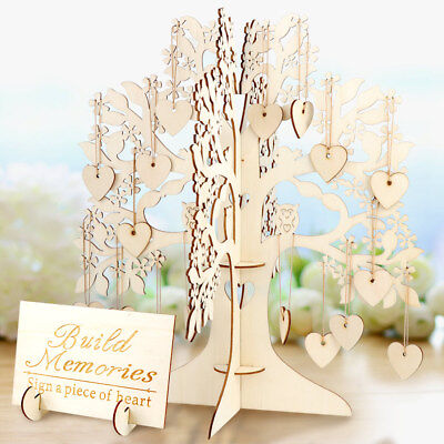 DIY Wooden Tree &100 Hearts Wedding Guest Book for Baby Shower Birthday Favors