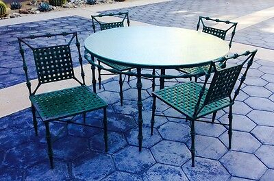 Vintage Faux Bamboo Hollywood Regency Scroll Patio Dining Set, Brown Jordan