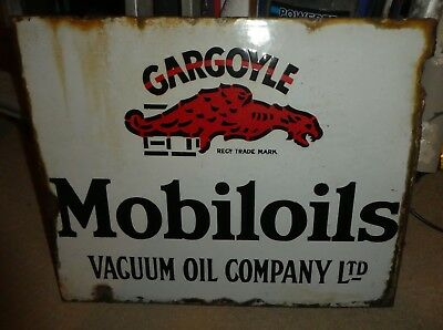 MOBILOILS  Vintage 1920's ? double sided Sign petrol gargoyle vacuum Mobil oil