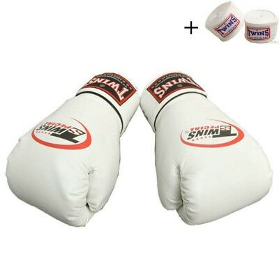 Twins Special Muay Thai Boxing Gloves Sparring Leather WHITE 14oz FREE WRAPS