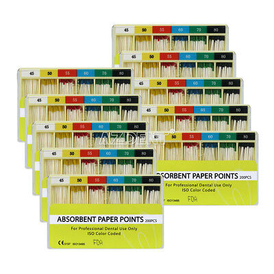 50Box Dental 0.02 Taper Absorbent Paper Points 45-80# For Root Endodontics Use