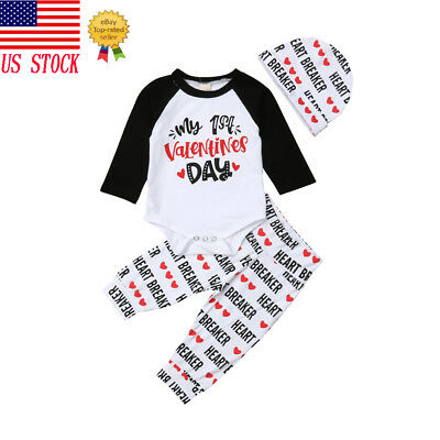 My 1st Valentine's Day Newborn Baby Boys Girls Clothes Romper Bodysuit Outfit US