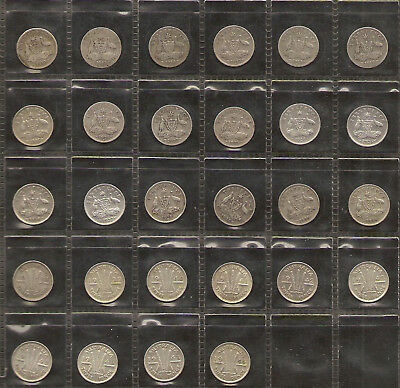 1910 to 1944 Australian Threepence Set Inc RARE 1923 - 92.5% Silver 28 Coins