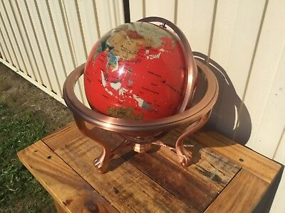 Stunning Red Lapis  Gemstone Word Globe On Copper Stand