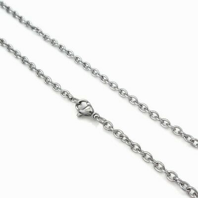 5 x Stainless Steel 60cm Cable Chain Necklaces 4mm x 3mm Links