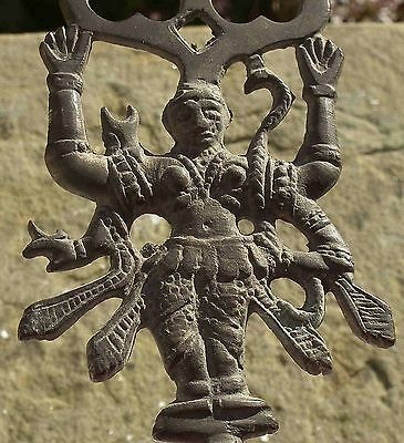 Rare Antique  Hand Made Brass Toasting Fork Head Of  Indian God Shiva