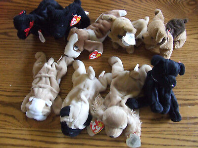 Lot 9 Ty Beanie Babies Retired Dogs Poodle Bulldog Pug Terrier Basset Cocker
