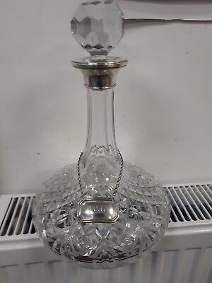 Ships Crystal Decanter With 925 Sterling  Silver Rim & Label.