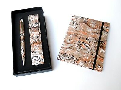 Ladies Pen & Journal Set-BRONZE REFILLABLE with CRYSTALS & MATCHING POUCH in BOX
