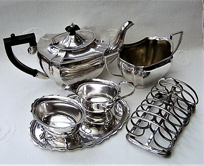 Vintage English Silver Plated Tea Pot, Sugar Bowl, Sauce Boat Set & Toast Rack