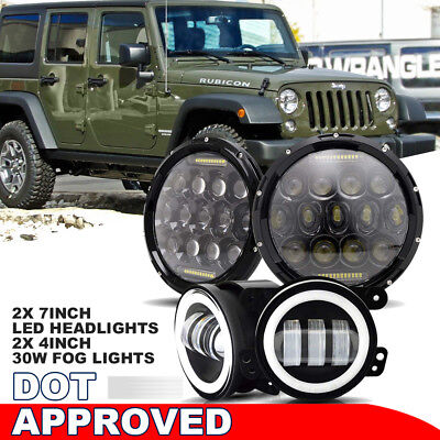 75W Fits Jeep LED Headlight Hi-Low Beam&30W White Halo Fog For 97-17 Jeep JK 4pc