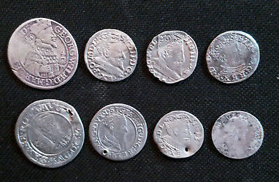 Set of 8 medieval silver coins 1554-1659