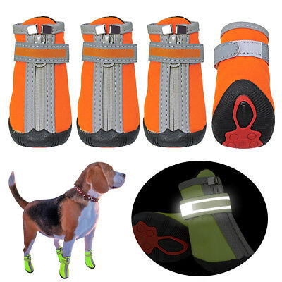 4pcs Small Dog Shoes Paw Boots Booties for Snow Rain Reflective Anti-slip Boots