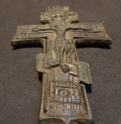 Antique Bronze Cross - Enclopion -Jesus Christ