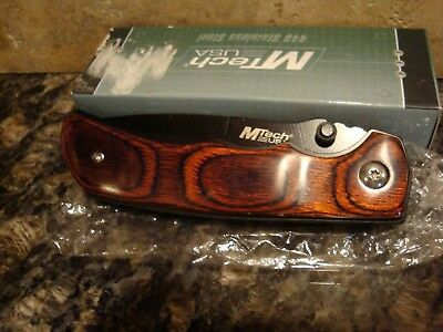 """7.75"""" M-Tech Usa Red Wood Stainless Steel Folding Pocket Knife"""