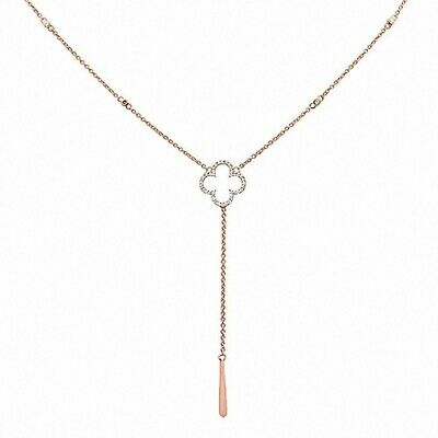 """.06cts G SI 14kt Rose Gold Round Diamond Drop Lariat Pendant Necklace 18/"""" Long"""