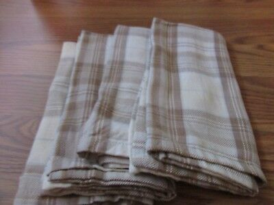 Beautiful Vintage Set Of 4 Tan, Ivory And Blue Check  Napkins 18 X 18 L1