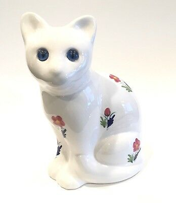 Hand Painted Ceramic Kitty Cat Figurine Blue Eyes Elpa Alcobaca Portugal