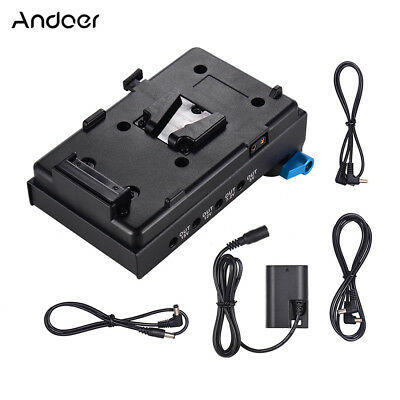 Andoer V Mount V-lock Battery Plate Adapter with 15mm Dual Hole Rod Clamp Y4P0
