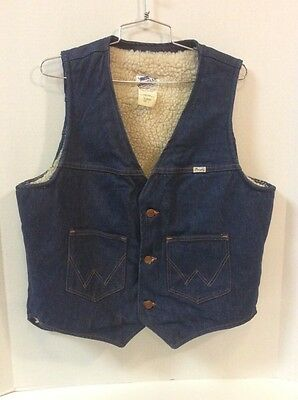 MENS VINTAGE WRANGLER NO FAULT DENIM SANFOR SET SHERPA LINED VEST SIZE Large