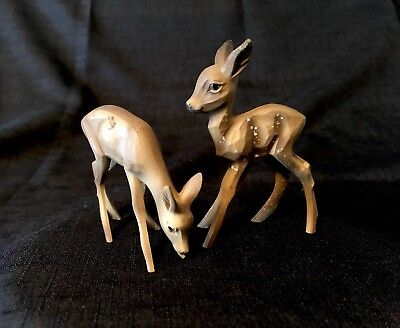 """Vintage Hand Carved 2 Wooden Deer Germany Small Nativity Fawn Doe Anri? Aprx 3"""""""