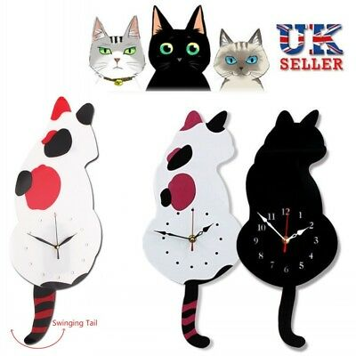 Animal Shaped Picture Wall Clock Swinging Tail Pendulum Cat Clock Home Decor