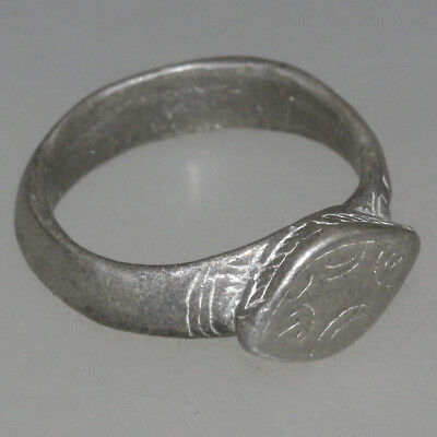INTACT Byzantine SILVER Decorated Ring 7th-10th Century AD