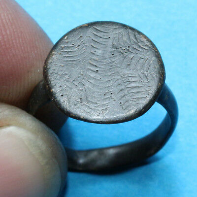 INTACT Byzantine Bronze Decorated Ring 7th-10th Century AD