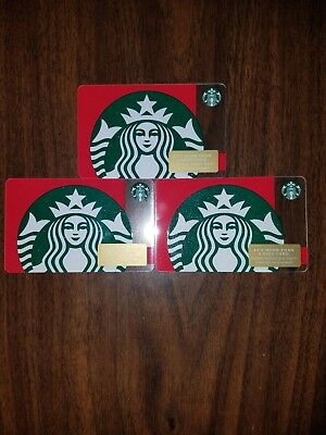 ( 3 ) 2018 Starbucks Siren red background Gift Card Collectible Mint  Christmas
