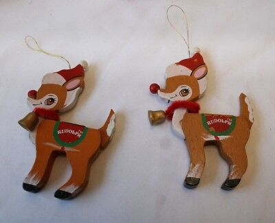 Rudolph the Red Nose Reindeer Wood Chrstimas Tree Ornaments Set of 2