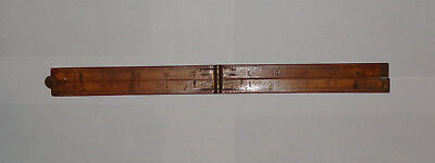 """Vintage Antique Wooden Ruler Measure No. 68 #68 Upson Brass Hinges 24"""" 24 inches"""