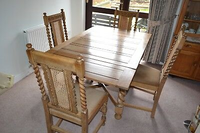 Antique English Oak Draw-Leaf Dining Table and 4