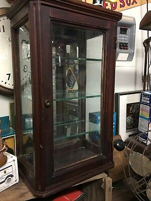 Antique Wood Beveled Glass Mirror Curio Display Cabinet