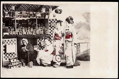 Japan c.1890's image - Two Geisha, Maiko or bijin with Little Sister -Hair Bangs