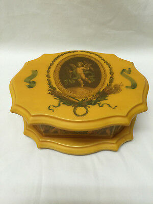 Vintage Bakelite/Celluloid Signed Jewelry Box with Cherubs